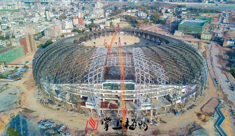 五华足球文化公园体育场钢结构合龙 预计7月交付使用