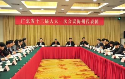 梅州代表团审查省计划和预算报告 陈小川许瑞生谭君铁方利旭等参加