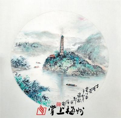 张启邦丨松口古镇八景写生图