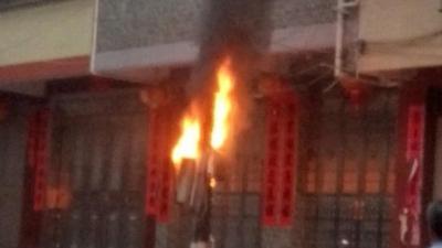 吓人!用电超负荷,丰顺新南村电表箱内七个电表起火…