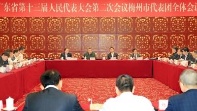 梅州代表团进行分组讨论,许瑞生林贻影陈敏张爱军等参加
