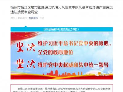 梅江区城综执法大队督查中队队员李都涉嫌严重违纪违法接受审查调查