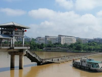 """@梅州市民,""""白鹿""""离开了,东山人行浮桥今天恢复通行啦"""