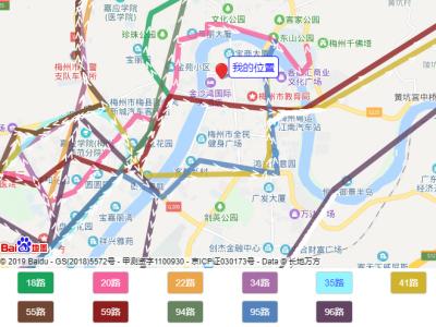 梅州西站始发的11条公交线路图
