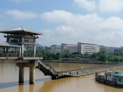 """@梅城人 东山人行浮桥将短暂""""下线"""",时长1个月"""