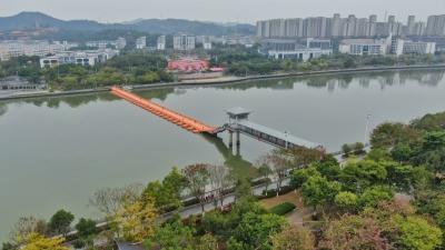 东山人行浮桥恢复通行啦!梅城人,饭后又可以去散步赏江景了~