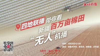 """直播丨四地联动带你看新疆百万亩棉田""""无人""""机播"""